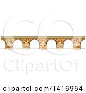 Clipart Of A Sketched Spanish Landmark Roman Bridge Royalty Free Vector Illustration