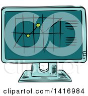 Poster, Art Print Of Sketched Chart On A Computer Screen