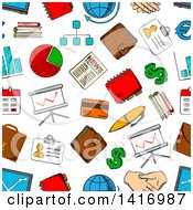 Seamless Background Pattern Of Financial Items