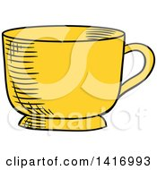 Clipart Of A Sketched Tea Cup Royalty Free Vector Illustration