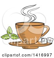 Clipart Of A Sketched Tea Cup And Sugar Cubes Royalty Free Vector Illustration by Vector Tradition SM