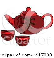 Sketched Asian Tea Pot And Cups