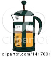 Clipart Of A Sketched French Press Royalty Free Vector Illustration by Vector Tradition SM