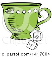 Poster, Art Print Of Sketched Tea Cup And Sugar Cubes