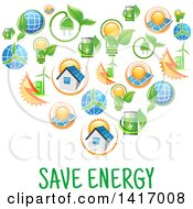 Clipart Of A Heart Formed Of Green Energy Icons Royalty Free Vector Illustration