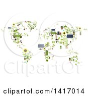 Clipart Of A Map Made Of Green Energy Icons Royalty Free Vector Illustration by Vector Tradition SM