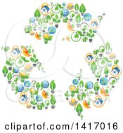 Clipart Of A Triangle Of Recycle Arrows Made Of Eco Icons Royalty Free Vector Illustration