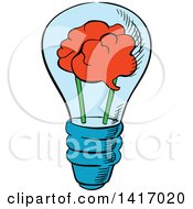 Clipart Of A Sketched Light Bulb With A Brain Royalty Free Vector Illustration by Seamartini Graphics