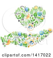 Heart And Hand Formed Of Green Energy Icons