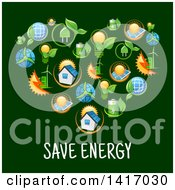 Clipart Of A Heart Formed Of Green Energy Icons Over Text Royalty Free Vector Illustration