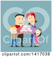 Clipart Of A Flat Design Style Caucasian Family Celebrating A Birthday And Holding A Cake Royalty Free Vector Illustration by Vector Tradition SM