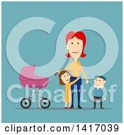 Clipart Of A Flat Design Style Mother Strolling With Her Children Royalty Free Vector Illustration by Vector Tradition SM