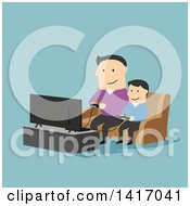 Clipart Of A Flat Design Style Father And Son Playing Video Games Royalty Free Vector Illustration by Vector Tradition SM