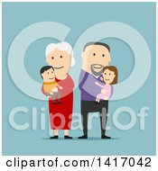 Clipart Of A Flat Design Style Family With Senior Parents Or Grandparents Royalty Free Vector Illustration