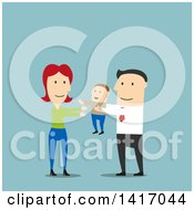 Clipart Of A Flat Design Style Father Passing His Son To The Mother Royalty Free Vector Illustration by Vector Tradition SM