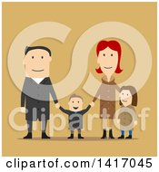 Clipart Of A Flat Design Style Family In Winter Or Fall Clothing Royalty Free Vector Illustration by Vector Tradition SM