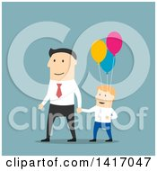 Clipart Of A Flat Design Style Father And Son Walking With Balloons Royalty Free Vector Illustration by Vector Tradition SM