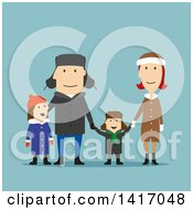 Clipart Of A Flat Design Style Family In Winter Clothing On Blue Royalty Free Vector Illustration by Vector Tradition SM