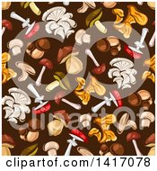Clipart Of A Seamless Background Pattern Of Mushrooms Royalty Free Vector Illustration by Seamartini Graphics