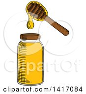 Clipart Of A Sketched Honey Jar And Dipper Royalty Free Vector Illustration