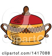 Clipart Of A Sketched Sugar Pot Royalty Free Vector Illustration