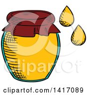 Clipart Of A Sketched Honey Jar Royalty Free Vector Illustration