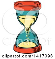 Clipart Of A Sketched Hourglass Royalty Free Vector Illustration