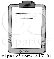Clipart Of A Sketched Clipboard Royalty Free Vector Illustration by Vector Tradition SM