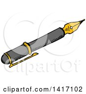 Clipart Of A Sketched Fountain Pen Royalty Free Vector Illustration by Vector Tradition SM