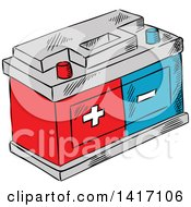 Clipart Of A Sketched Battery Royalty Free Vector Illustration by Vector Tradition SM