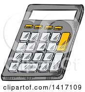 Clipart Of A Sketched Calculator Royalty Free Vector Illustration by Vector Tradition SM