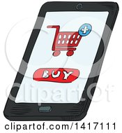 Clipart Of A Sketched Smart Phone With A Buy Screen Royalty Free Vector Illustration by Vector Tradition SM
