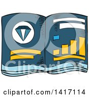 Clipart Of A Sketched Investment Book About Gems Royalty Free Vector Illustration by Vector Tradition SM