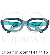 Clipart Of A Sketched Folded Pair Of Glasses Royalty Free Vector Illustration