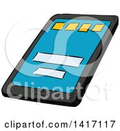 Clipart Of A Sketched Tablet Computer Royalty Free Vector Illustration by Seamartini Graphics