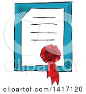 Clipart Of A Sketched Certificate And Ribbon Royalty Free Vector Illustration