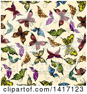 Seamless Background Pattern Of Butterflies