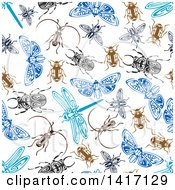 Seamless Background Pattern Of Tribal Bugs