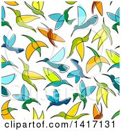 Clipart Of A Seamless Background Pattern Of Hummingbirds Royalty Free Vector Illustration by Seamartini Graphics