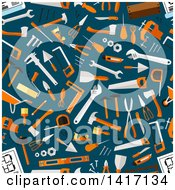 Clipart Of A Seamless Background Pattern Of Tools Royalty Free Vector Illustration by Seamartini Graphics