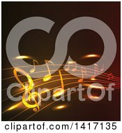 Clipart Of A Background Of Glowing Golden Music Notes Royalty Free Vector Illustration by Seamartini Graphics