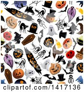 Clipart Of A Seamless Background Pattern Of Halloween Items Royalty Free Vector Illustration by Vector Tradition SM