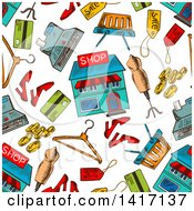 Clipart Of A Seamless Background Pattern Of Shopping Items Royalty Free Vector Illustration by Seamartini Graphics