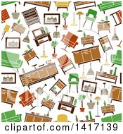 Clipart Of A Seamless Background Pattern Of Furniture Royalty Free Vector Illustration by Seamartini Graphics