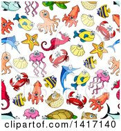Clipart Of A Seamless Background Pattern Of Sea Creatures Royalty Free Vector Illustration by Seamartini Graphics
