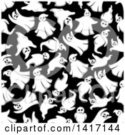 Clipart Of A Seamless Background Pattern Of Ghosts Royalty Free Vector Illustration by Seamartini Graphics