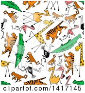 Poster, Art Print Of Seamless Background Pattern Of Animals