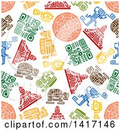 Clipart Of A Seamless Background Pattern Of Mayan Designs Royalty Free Vector Illustration by Vector Tradition SM