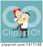 Clipart Of A Flat Design Style Couple Embracing Royalty Free Vector Illustration by Seamartini Graphics