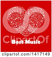 Heart Made Of White Music Notes With Text On Red